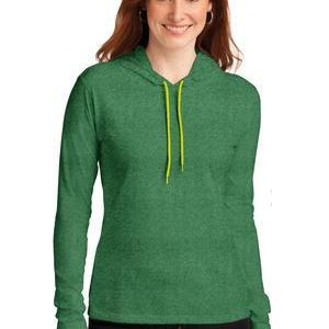 Ladies 100% Combed Ring Spun Cotton Long Sleeve Hooded T Shirt Thumbnail