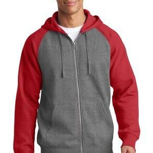 Raglan Colorblock Full Zip Hooded Fleece Jacket Thumbnail